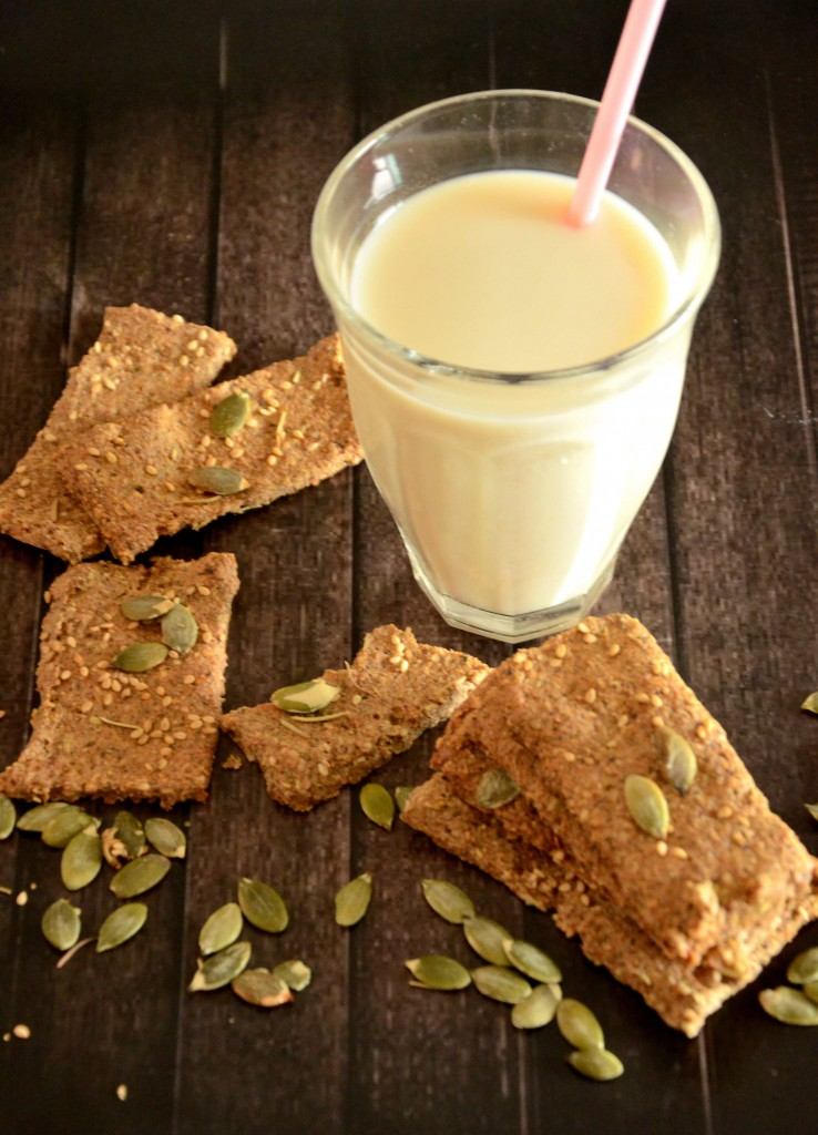 Zaatar crackers and almond milk